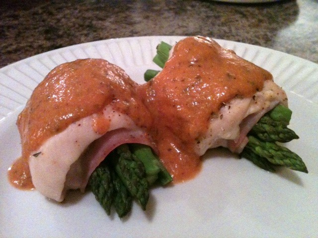 Chicken Asparagus Roulade with Creamy Tomato Sauce