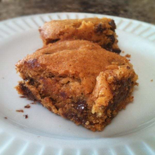 Chocolate Chip Blondies (Gluten Free and Egg Free)