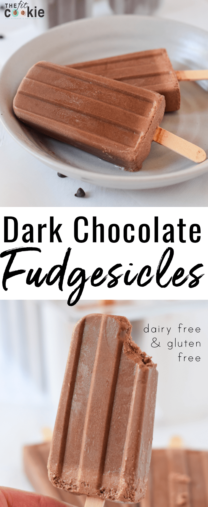 Craving a chocolatey frozen treat? Make these dairy free, soy free, and peanut free Dark Chocolate Popsicles (aka Fudgesicles) for a cool treat that's healthier than store-bought - @TheFitCookie #dairyfree #grainfree #glutenfree #popsicles