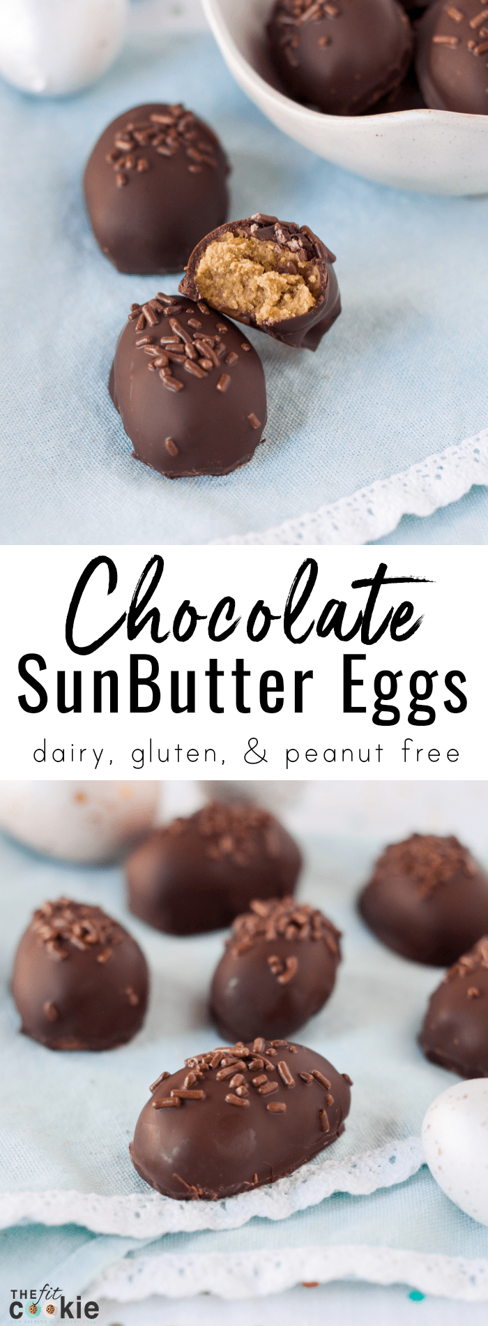 Make some homemade allergy friendly Easter candy that is peanut free, gluten free, and dairy free with this delicious Chocolate SunButter Egg recipe! They are soy free and vegan too - @TheFitCookie #peanutfree #Easter #glutenfree #vegan