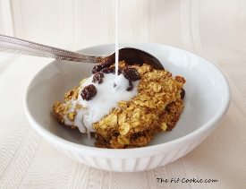 small photo of baked oatmeal with raisins and almondmilk