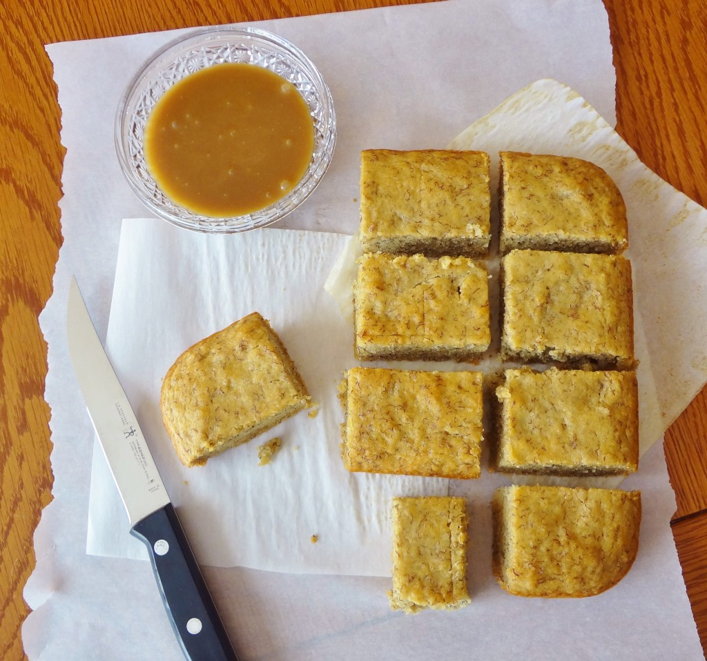 Here's another use for those over-ripe bananas on your counter! This delicious Banana Sheet Cake with dairy free Caramel Sauce is easy to make and makes a great after school snack - @TheFitCookie #glutenfree #dairyfree