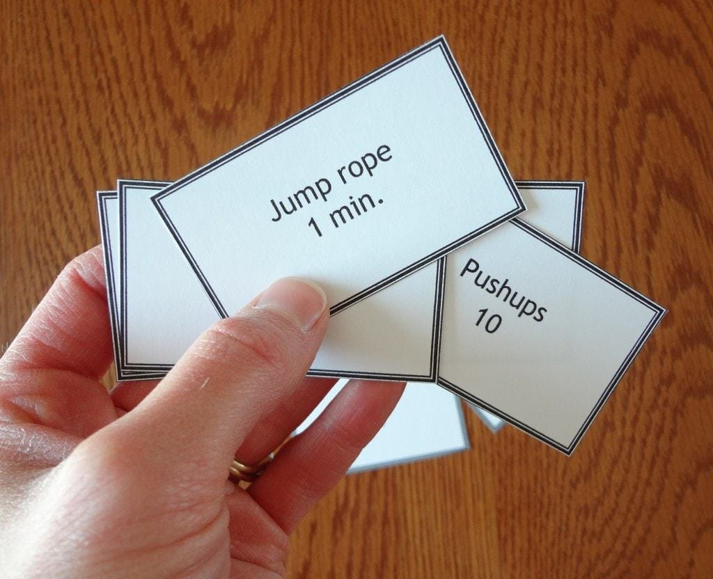 Add some fun to your workouts with this Workout Card Shuffle! You can make your own cards with your favorite exercises on them, or print our cards - @TheFitCookie #fitness #workouts