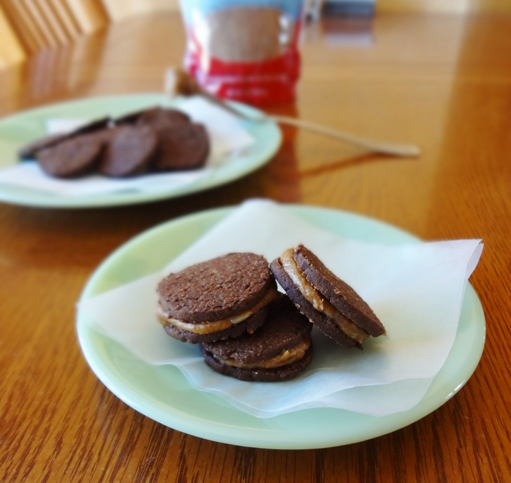 My healthier version of a sandwich cookie, these Gluten Free Chocolate Sandwich Cookies with Coconut Sugar Filling are easy to make and delicious! - @TheFitCookie #glutenfree