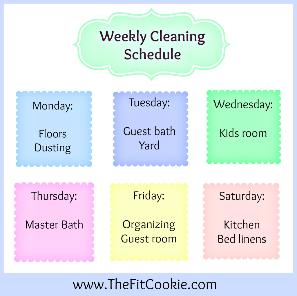 Printable weekly cleaning schedule the fit cookie printable weekly cleaning schedules thefitcookie home organization cleaning maxwellsz