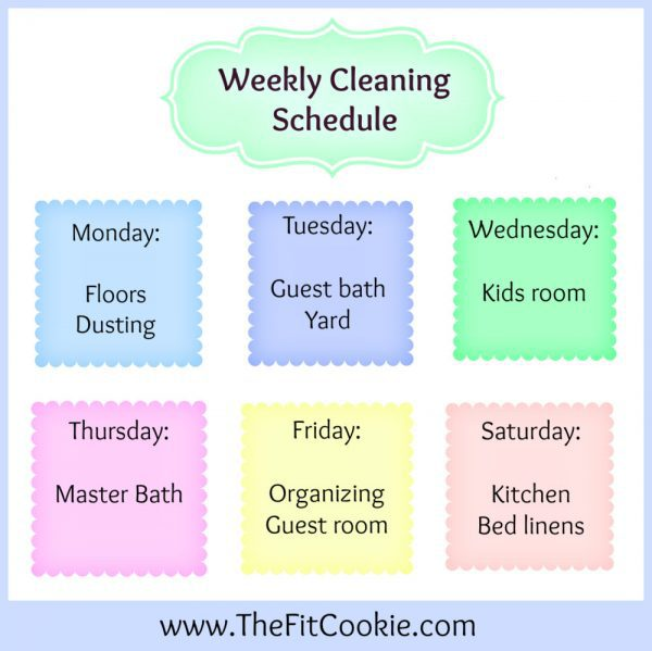 Housework Helper Cleaning Schedule The Fit Cookie