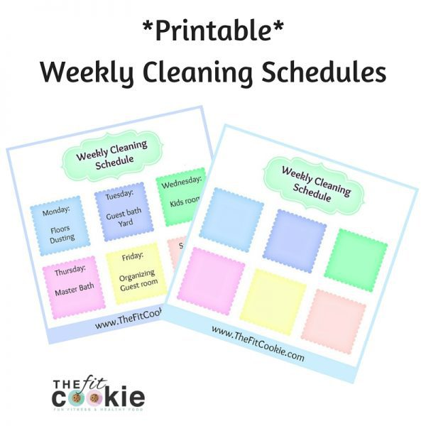 graphic regarding Weekly Cleaning Schedule Printable known as Printable Weekly Cleansing Program The Healthy Cookie