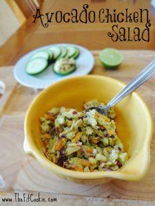 Avocado chicken salad in a yellow bowl