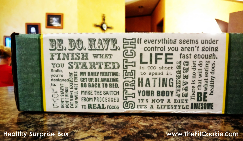 The boxes come printed with healthy mantras!