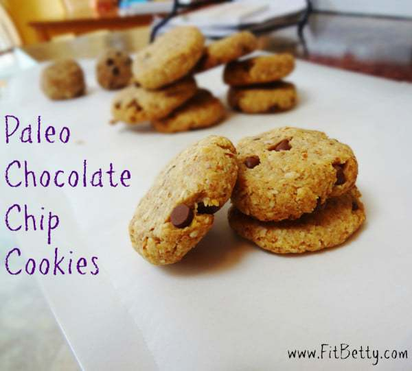 Make these Grain Free Chocolate Chip Cookies next time you're craving something sweet! You can bake these or eat them raw (no eggs!) - @TheFitCookie #paleo #eggfree #dairyfree