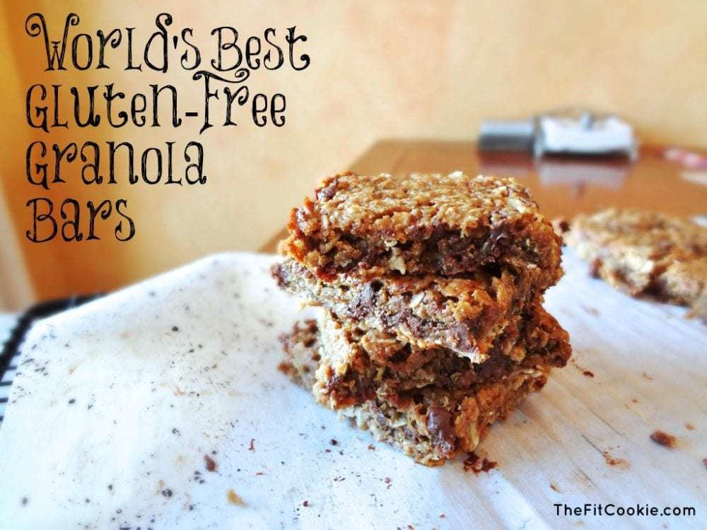Got a hankering for granola bars that are simple, chewy, and better for you than store-bought? Make some of these Gluten Free Granola Bars at home pack them for snacks and lunch! - @TheFitCookie #glutenfree #vegetarian