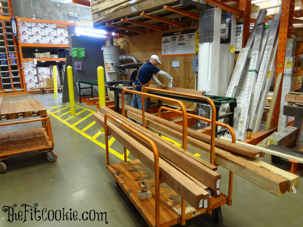 The Home Depot will cut wood for you while you wait!