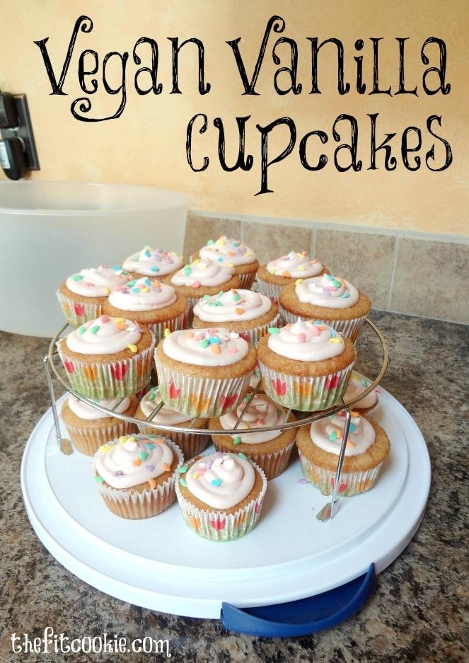 Vegan Vanilla Cupcakes (egg & dairy free) - #vegan #soyfree @TheFitCookie #cupcakes
