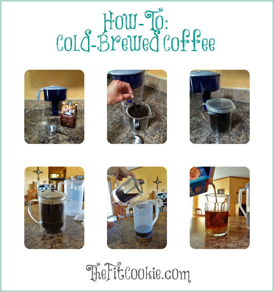 older collage image of steps to make cold brew coffee
