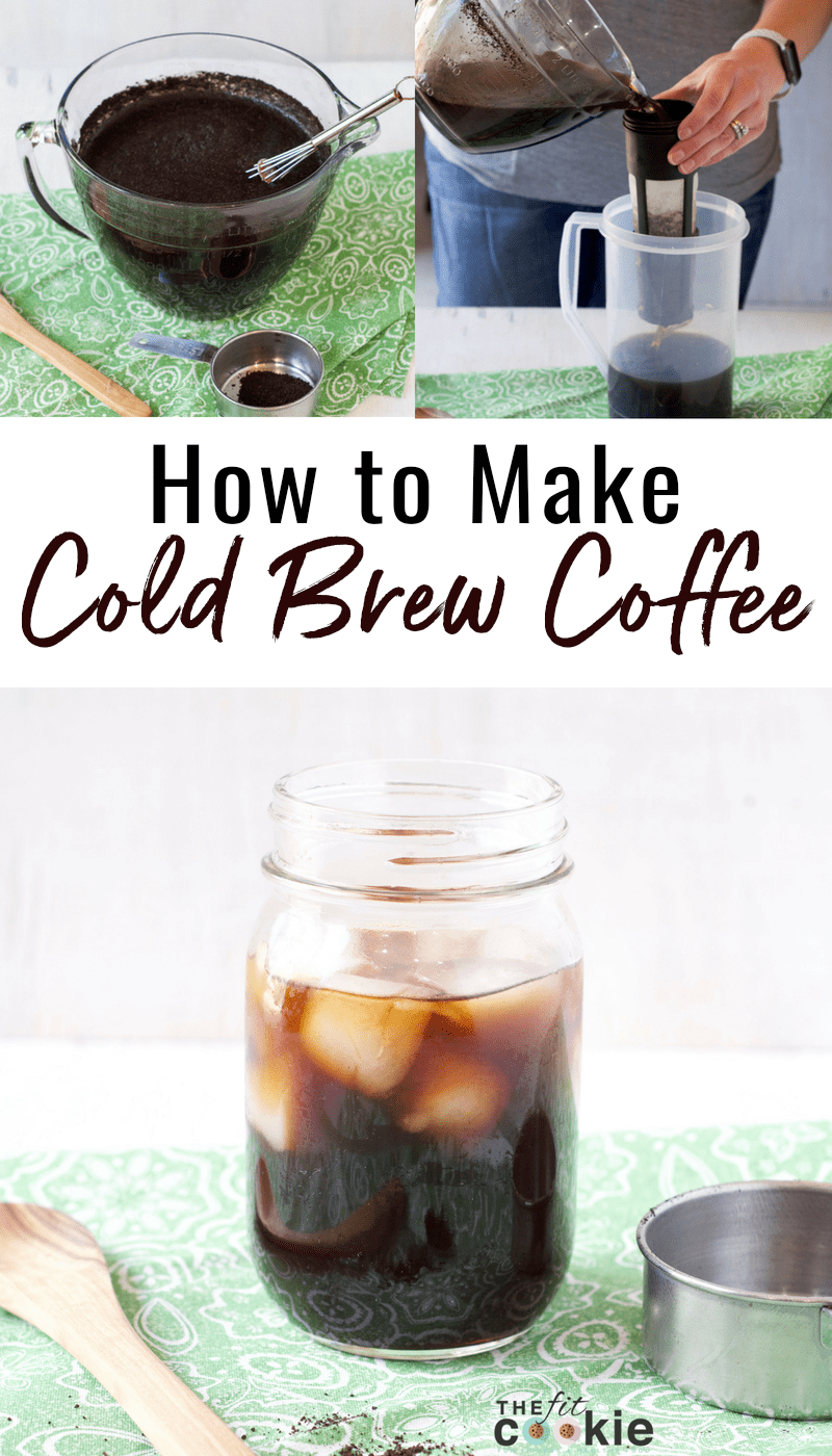 image collage of preparation and steps to make cold brew coffee