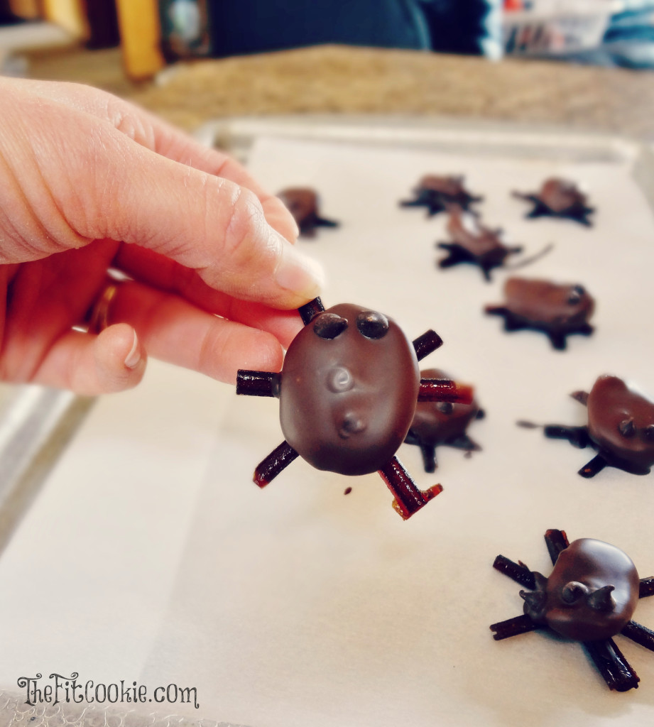 """Make up your own healthy halloween candy with these fun treats that are also allergy friendly! These Chocolate Fruit """"Bugs"""" are gluten free, peanut free, vegan, and easy to make!- @TheFitCookie #Halloween #dairyfree #glutenfree"""