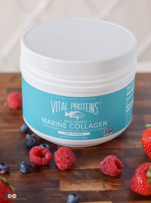 Vital Proteins marine collage powder. Jazz up your breakfast or snack with this easy Berry Healthy Smoothie Bowl with a protein boost! It's paleo, has only 5 ingredients, and has no added sugars. - @TheFitCookie #smoothie #paleo