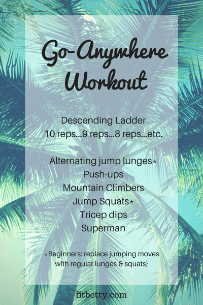 Need your workout to be portable and easy to take with you? Check out the Go-Anywhere Bodyweight workout and my favorite music to pump-up your playlist!