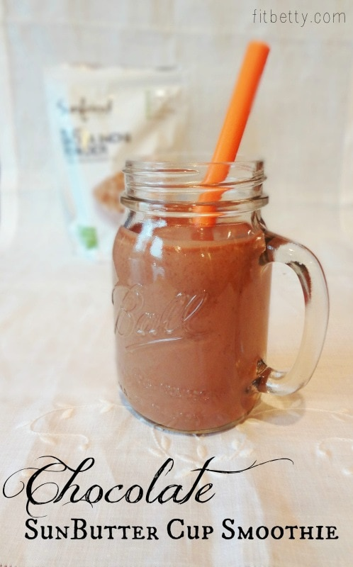 make this instead of eating that PB Cup: Chocolate SunButter Cup Smoothie #smoothie #allergyfriendly #healthy @Fit_Betty