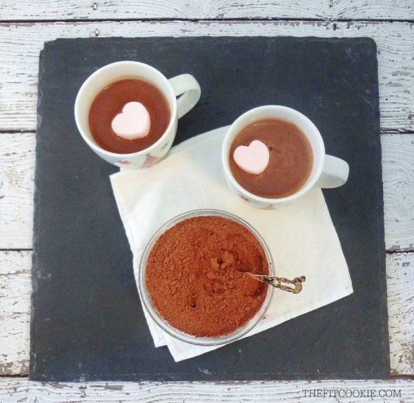 overhead photo of dairy free hot cocoa mix and vegan hot cocoa in cups with marshmallows