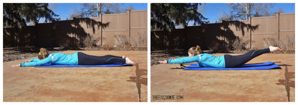 Superman (prone back extension): 30-Minute Abs and Glutes Workout - TheFitCookie.com #workout #fitness