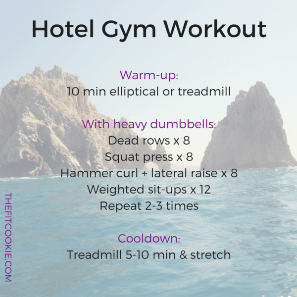 Hotel gym workout: TFC Travels: 2 Vacation Workouts to try - #workouts #travel #fitfluential @TheFitCookie