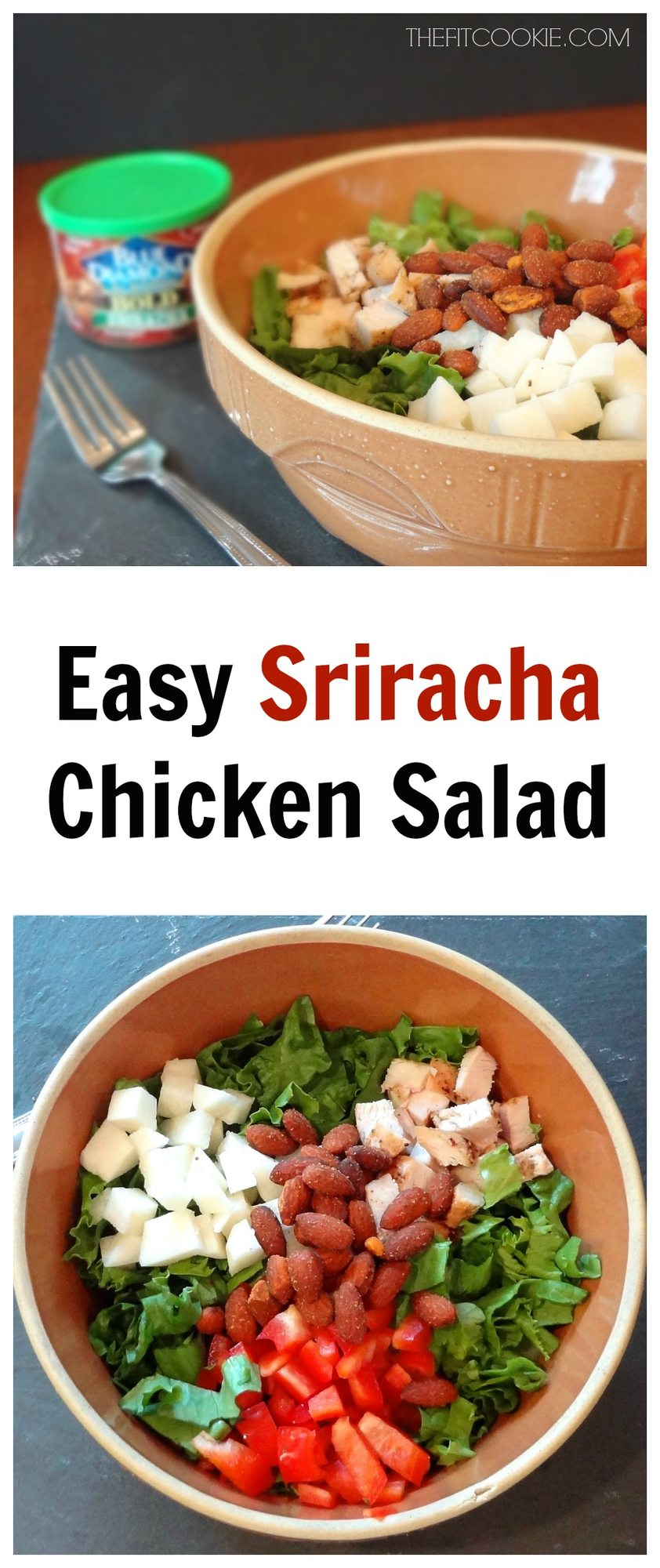 The perfect summer salad: Easy Sriracha Chicken Salad - #sponsored #recipe #salad @BlueDiamond @TheFitCookie