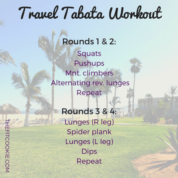 Travel tabata workout: TFC Travels: 2 Vacation Workouts to try - #workouts #travel #fitfluential @TheFitCookie