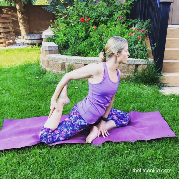 Pigeon pose. Yoga is amazing for opening tight hips, but can also be problematic if you have joint problems. Here are some tips for safely doing yoga with FAI hip impingement - @TheFitCookie #fitness #yoga