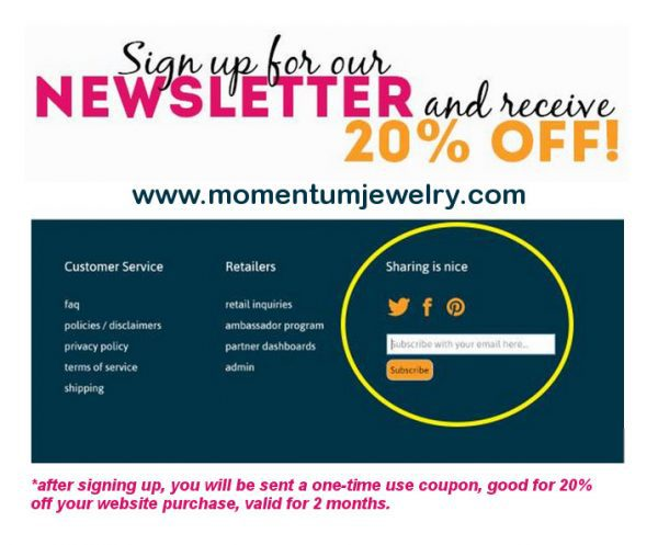 Momentum Newsletter Promotion - The Fit Life: News and New Things #11 - #fitfluential #sweatpink @momentumjewelry @thefitcookie