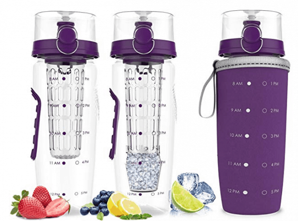 fruit infusion water bottle with drink tracker