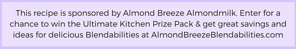 This Eggnog Protein Shake recipe is sponsored by Almond Breeze Almondmilk. Enter for a chance to win the Ultimate Kitchen Prize Pack, get great savings and ideas for delicious Blendabilities at AlmondBreezeBlendabilities.com