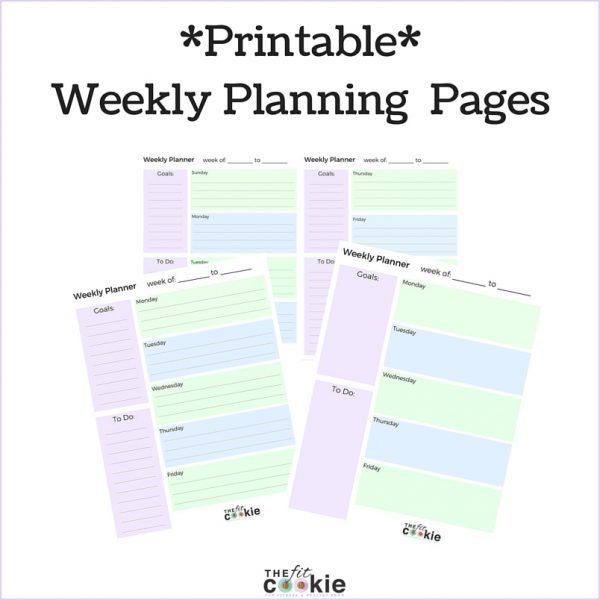 Free Printable Weekly Planner Pages • The Fit Cookie