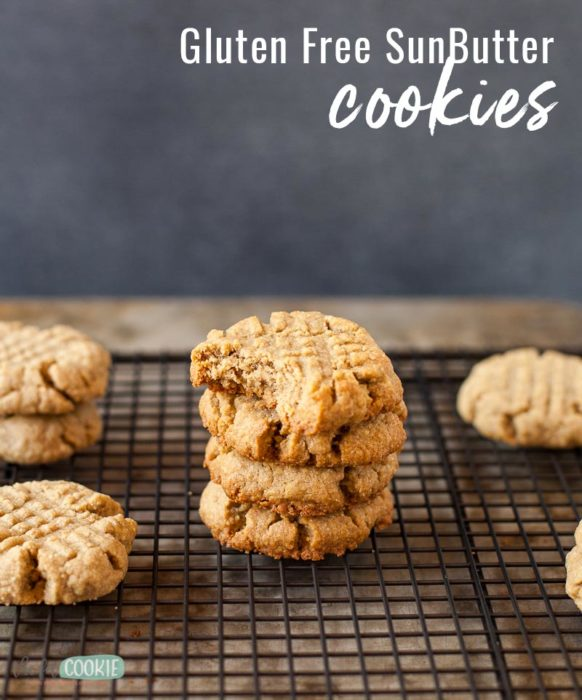 photo of stack of sunbutter cookies with text overlay