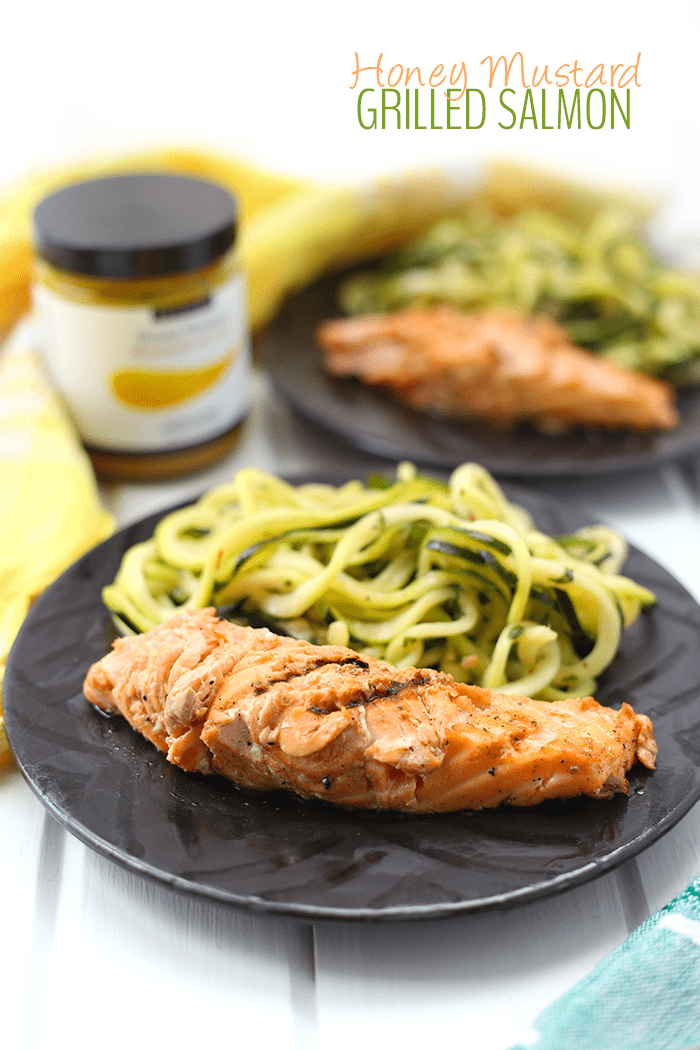 Honey Mustard Grilled Salmon from The Healthy Maven - 10 Best Healthy Food Blogs - @thefitcookie #food #recipes #fitfluential #healthy #allergyfriendly