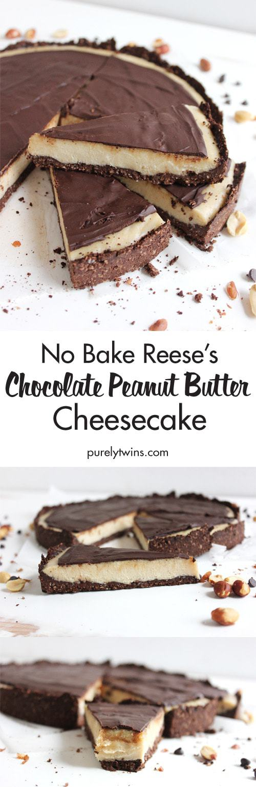 No-Bake Reese's Chocolate Peanut Butter Cheesecake from Purely Twins - 10 Best Healthy Food Blogs - @thefitcookie #food #recipes #fitfluential #healthy #allergyfriendly