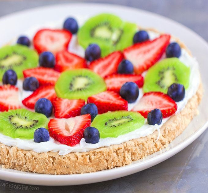 Sugar Cookie Fruit Pizza from Chocolate Covered Katie - 10 Best Healthy Food Blogs - @thefitcookie #food #recipes #fitfluential #healthy #allergyfriendly
