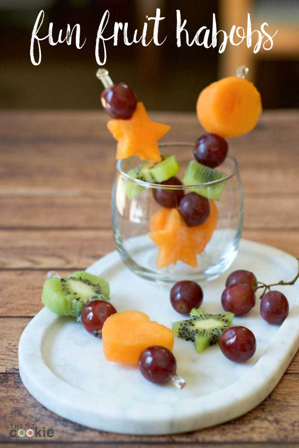 Here's a creative way to serve fruit: Fun Shape Fruit Kabobs! Serve with your favorite fruit dip or yogurt for snacks or party appetizers - @thefitcookie #paleo #vegan