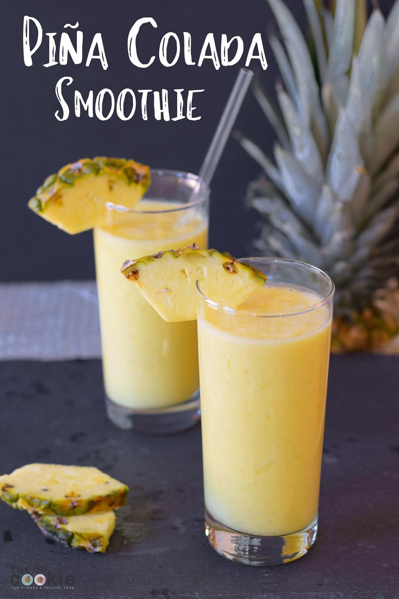 This Piña Colada Smoothie is perfect for warmer weather when you're dreaming of the beach (it can also double as a healthier cocktail)! This smoothie is gluten-free, paleo, vegan, and lower sugar - perfect! • @TheFitCookie