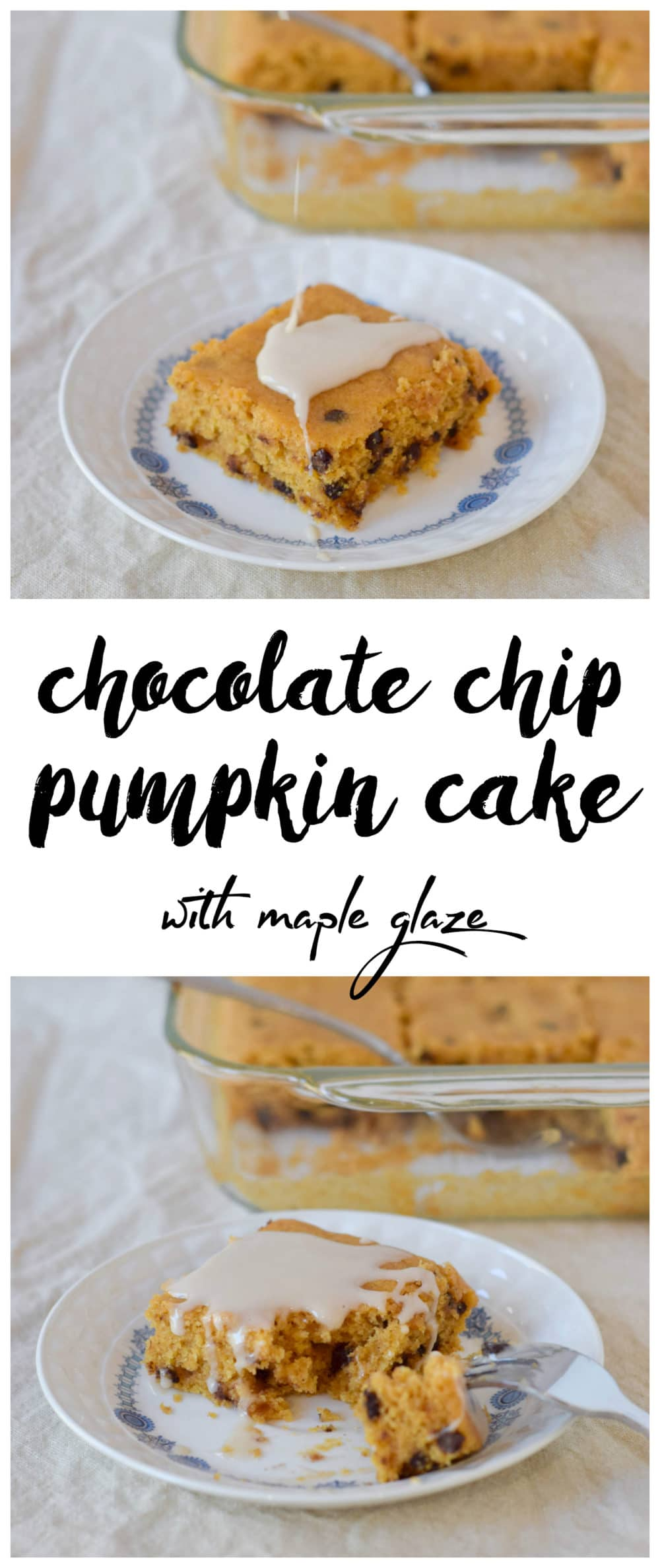 Chocolate Chip Pumpkin Cake with Maple Glaze (#GlutenFree and #Vegan) - @TheFitCookie #fitfluential #pumpkin