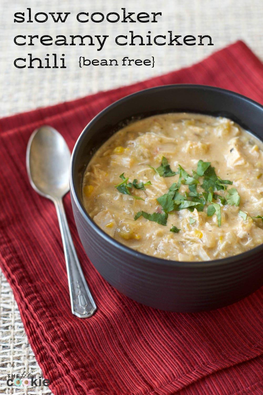 Slow Cooker Creamy Chicken Chili (Gluten and Bean Free) - @TheFitCookie #recipe #glutenfree #paleo
