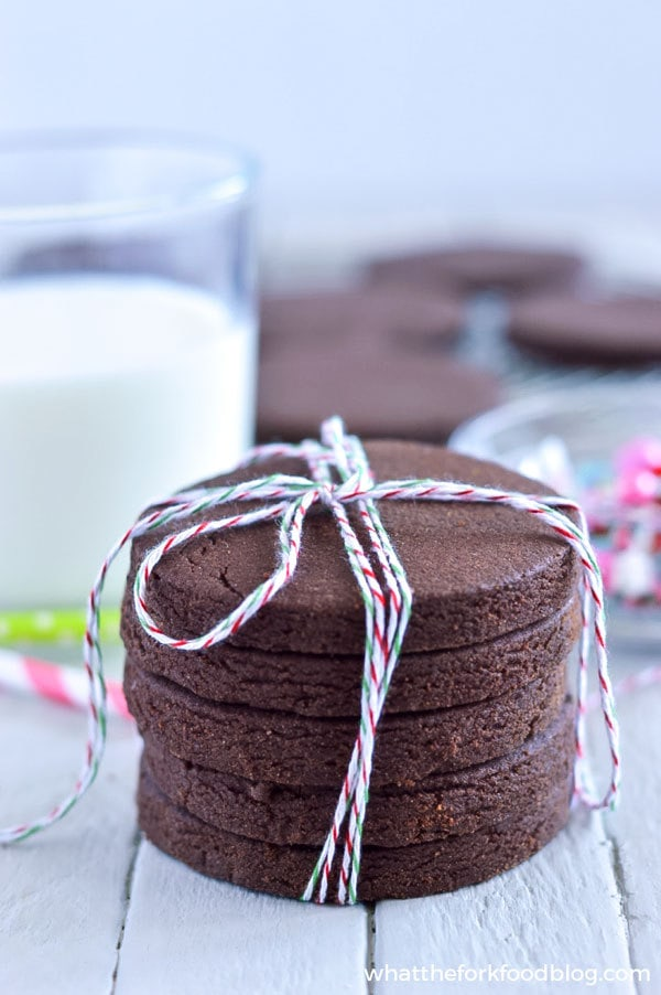 60 Gluten Free and Dairy Free Christmas Cookies: Gluten Free Chocolate Sugar Cookies by What the Fork Food Blog #glutenfree