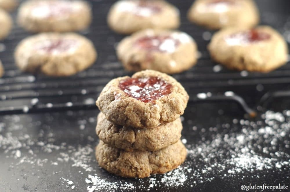 60 Gluten Free and Dairy Free Christmas Cookies: Gluten-Free Cookie Roundup: Grain-Free Strawberry Thumbprint Cookies by Gluten Free Palate #glutenfree