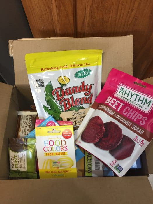box of foods and products ordered from vitacost