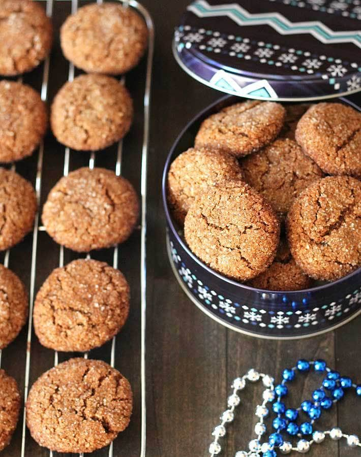 60 Gluten Free and Dairy Free Christmas Cookies: Chewy Vegan Gluten Free Gingerbread Cookies from Delightful Adventures #glutenfree #vegan