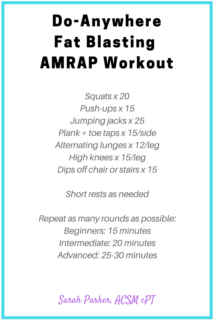Do-Anywhere Fat blasting AMRAP Workout (you can do this workout at home! no special equipment needed) - @TheFitCookie @CrispyGreen #fitfluential