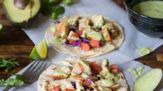 Grilled Chicken Tacos with Cilantro Crema (Dairy Free)