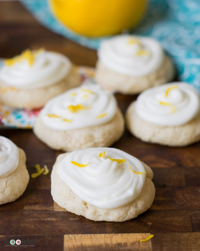 These cookies are the perfect combination of sweet cookie and tart lemon frosting! Celebrate Spring with these Gluten Free Frosted Lemon Cookies, they're vegan too! Simple to make and perfect for Easter or Mother's Day- @TheFitCookie AD @Bob'sRedMill BobsSpringBaking
