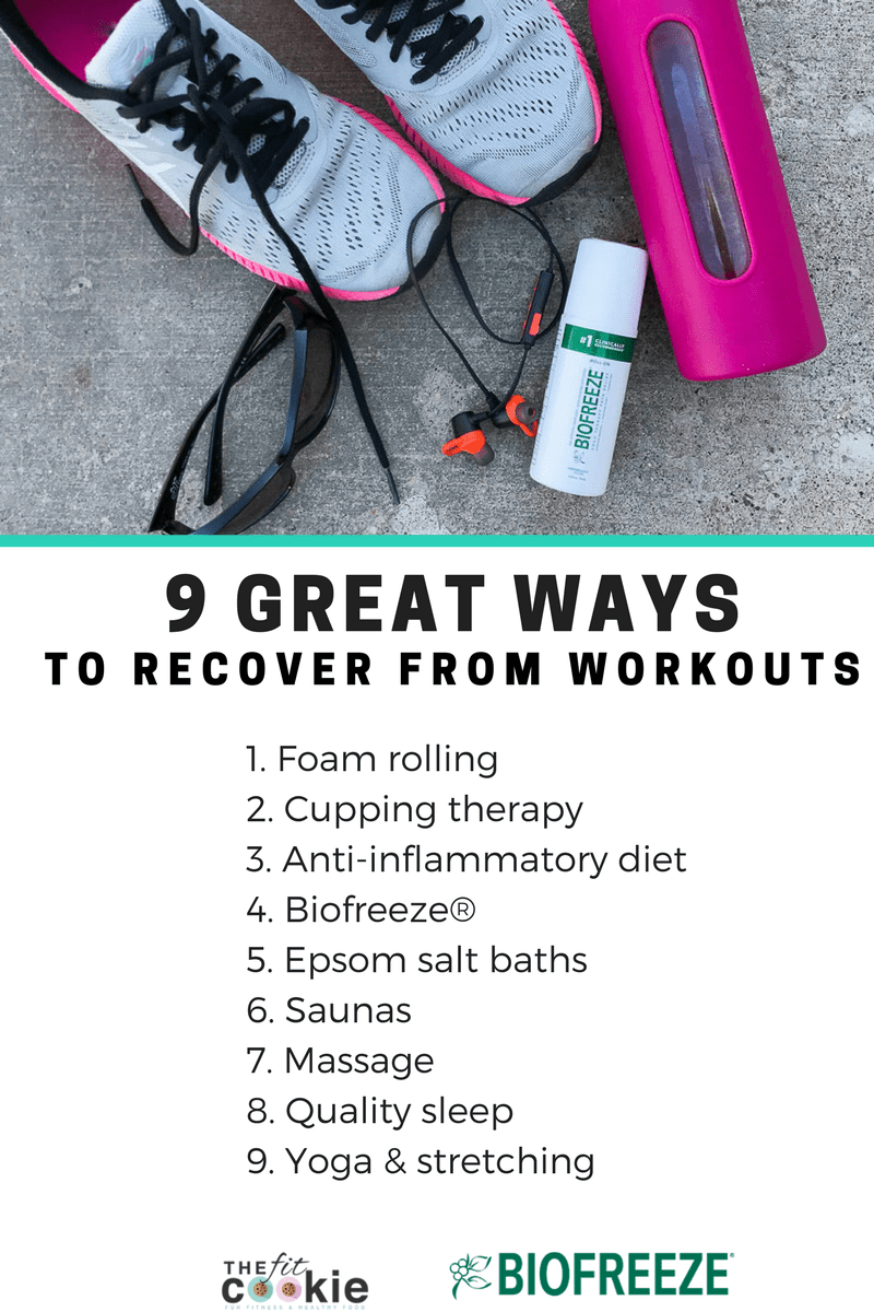 Sore or fatigued from your workout program? Rest and recovery are just as important in fitness as getting your workouts in! Here are 9 great ways to recover from workouts so you can keep doing what you love #sponsored by @Biofreeze