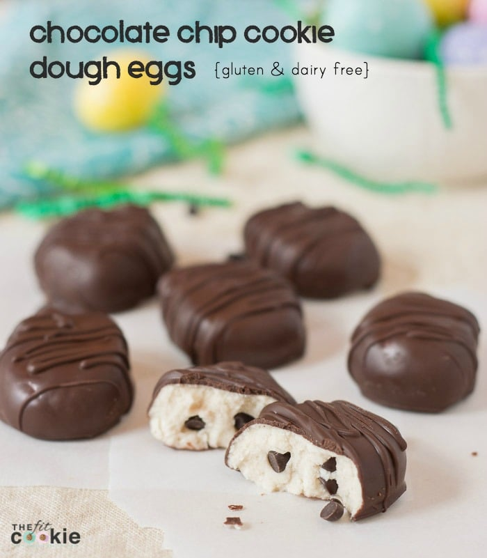 If you enjoy chocolate peanut butter eggs in your Easter basket, then you'll love these Gluten Free Chocolate Cookie Dough Eggs. These are easy to make, plus they're nut-free and vegan too! - @TheFitCookie